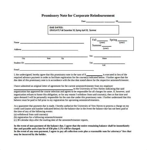 corporate promissory note template promissory note 22 free documents in pdf word