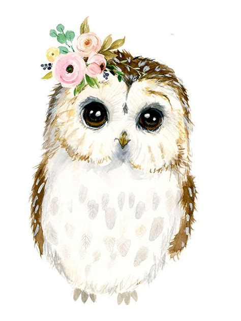 water color owl watercolor baby owl owlet painting woodland nursery