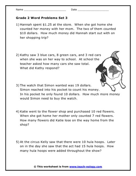Math Word Problems Grade 2 Worksheets by Grade 2 Word Problems Set 3
