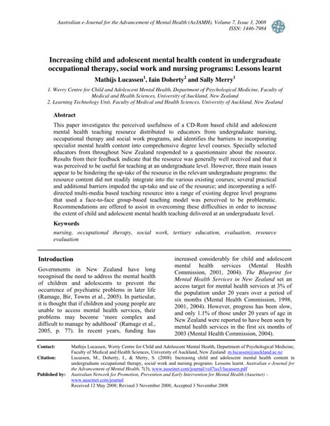 abstract thesis about child and adolescent increasing child and adolescent mental health content in