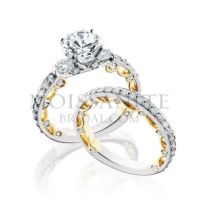 14k two tone gold and wedding set