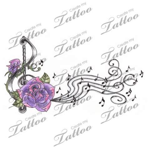 music rose tattoo treble clef notes design