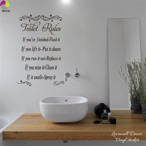 Toilet rules wall sticker bathroom washroom wc restroom lavatory wall decal loo waterproof vinyl