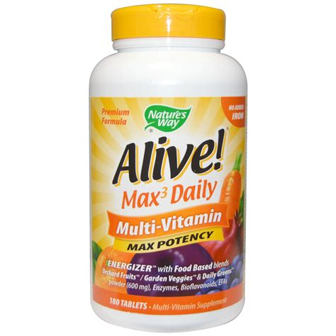 Vitamin Vitamam Nature S Way Alive Max Potency Multi Vitamin No Added