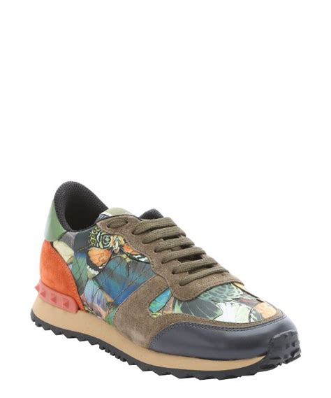 army green sneakers valentino army green and orange leather butterfly camo