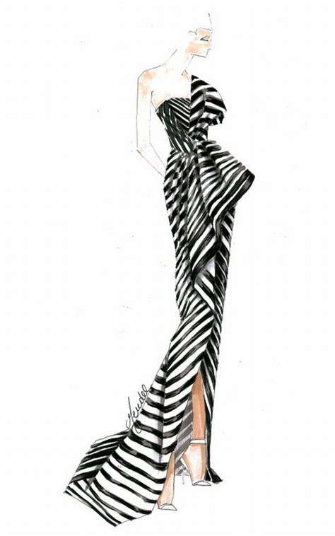 zebra fashion illustration sketch of the one shoulder black and white striped j mendel gown supermodel chanel iman wore to