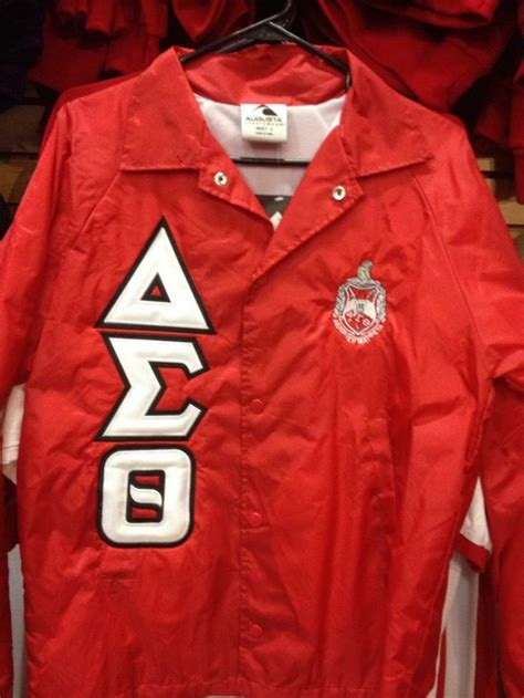 design fraternity jacket delta sigma theta line jacket red with shield and greek