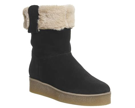 womens office icicle fur lined crepe sole boots black