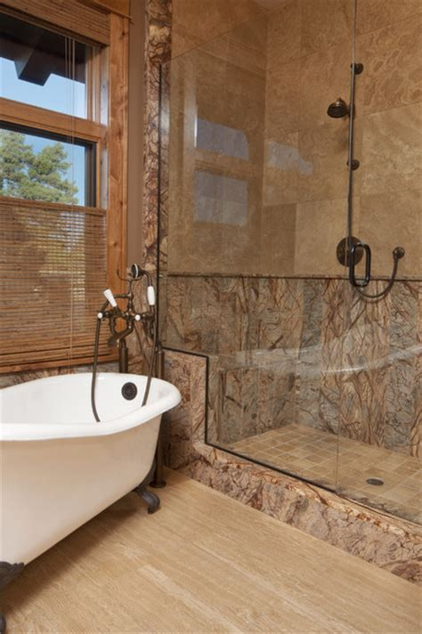 Powder Room Wall Decor Ideas by Forest Brown Marble Tile Modern Bathroom Milwaukee