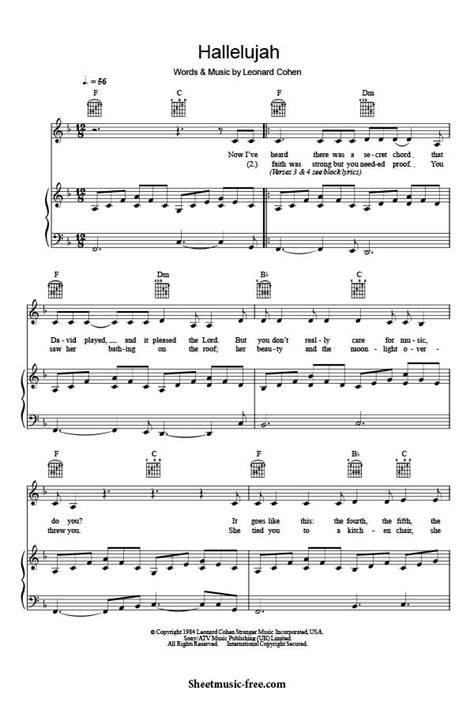 printable sheet music for hallelujah hallelujah piano sheet music leonard cohen sheet music free