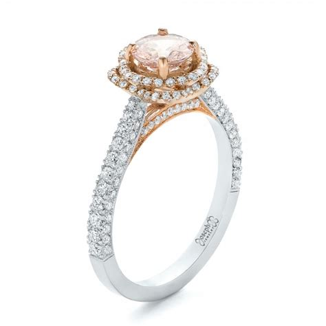 custom pink sapphire and halo engagement ring 102136