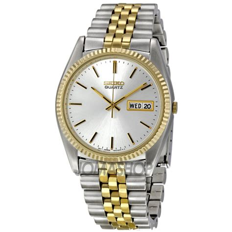 seiko day date dress two tone stainless steel s