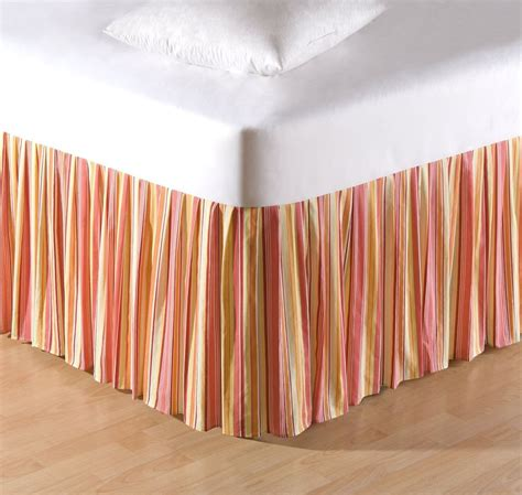 striped bed skirts orange striped twin full queen or king bed skirt tropical flamingo dust ruffle ebay
