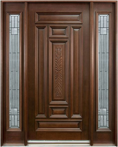 brown wooden front door ideas with mirror interior