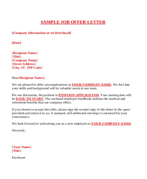 Offer Letter Sle Free Offer Letter Format Pdf Sle 28 Images 34 Offer Letter Formats Free Premium Templates Offer