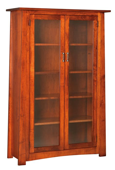 Glass Bookcase With Doors Craftsmen Bookcase With Glass Doors Peaceful Valley Amish Furniture