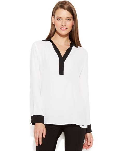 contrast trim sleeve blouse lyst calvin klein sleeve contrast trim blouse in white