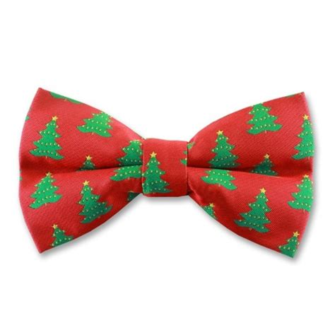 red ready tied bow tie with christmas fir trees gents shop