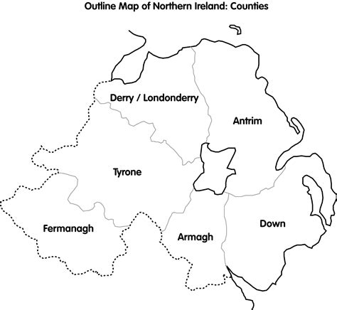 County Map Of Ireland Outline by Outline Map Northern Ireland Counties