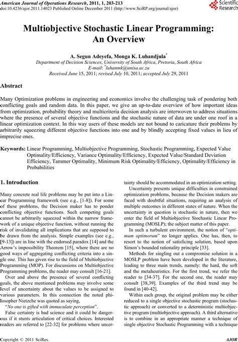 linear programming research papers multiobjective stochastic linear programming an overview