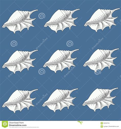 pattern line work seamless blue pattern with seashells line work vector