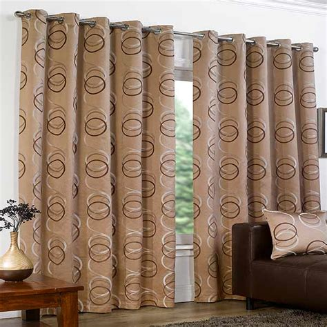 brown curtains with circles quebec circle print eyelet lined curtains ebay
