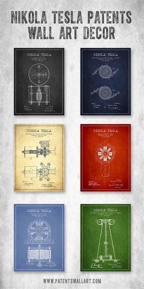 Tesla Gifts Collection Of Vintage Nikola Tesla Patent Wall Decor