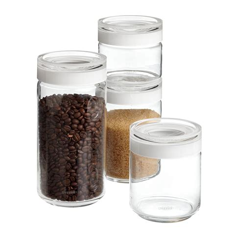 set of guzzini blanca glass canisters the container store