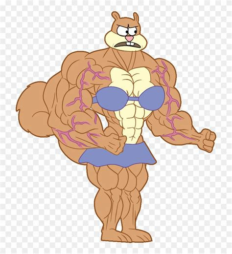 muscle sandy color  spongebob muscle sandy hd png
