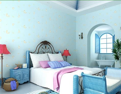 Light Blue Wallpaper Bedroom Light Blue Wallpaper For Boys And Room Moon Children Bedroom Non Woven Wallpaper Roll