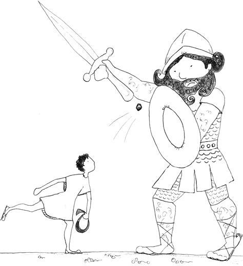 Free Coloring Pages Of David Versus Goliath David And Goliath Coloring Page
