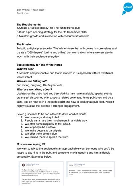 Social Media Briefformat The White Social Media Brief