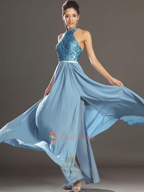 754 Dress Open Sude Halterneck sequin halter dress with open back sequin chiffon prom dress light blue halter