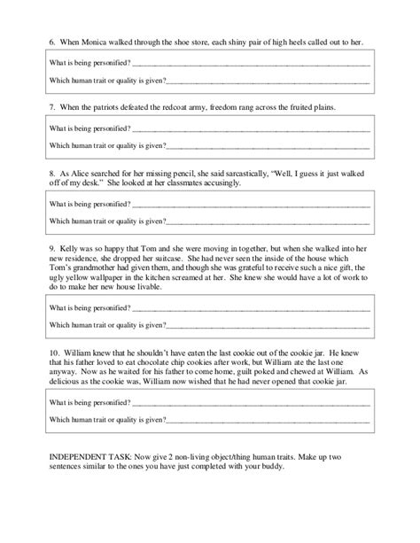 Personification Worksheets by Personification Worksheet And Ans