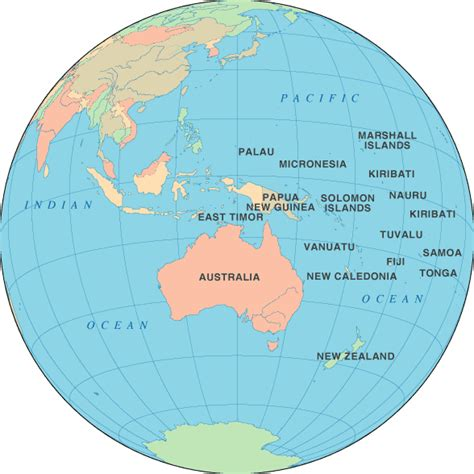 where is oceania on the world map continente oceania