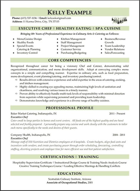 Resume Sle For Executive Chef index of images exles