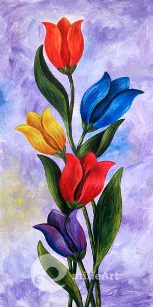 wallpaper bunga tulip kuning 50 contoh gambar lukisan bunga sederhana yang indah di
