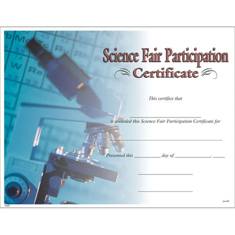 science fair participation certificate jones school supply