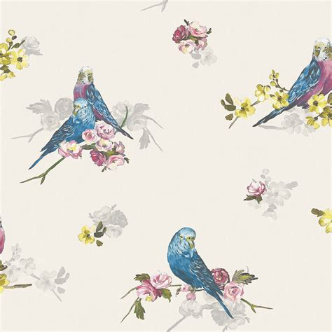 B Q Home Decor by Statement Budgie Blue Amp Grey Floral Birds Wallpaper Clearance Diy At B Amp Q
