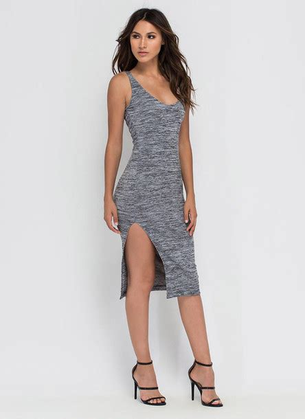 Strappy Knit Dress Black Grey0 S M L 16552 dress midi summer knit dress knitted dress midi dress slit dress grey dress strappy