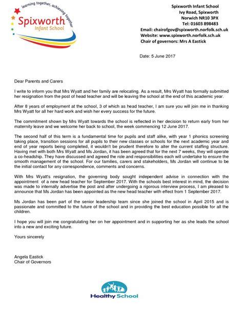 thank you letter from parents to headteacher headteacher parent letter spixworth infant school