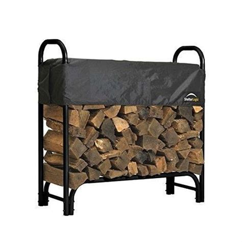 outdoor firewood rack 4 ft steel frame wood log storage