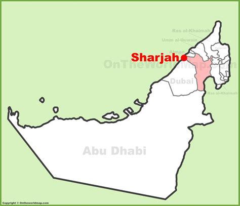 abu dhabi and dubai map sharjah location on the uae united arab emirates map