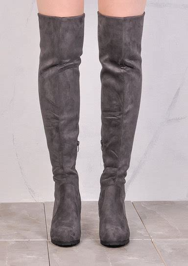wedge knee high flat boots suede grey