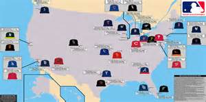 Baseball Usa Map by Major League Baseball Map With All 30 Ball Clubs Showing