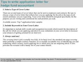 Fund Controller Cover Letter by Hedge Fund Accountant Application Letter