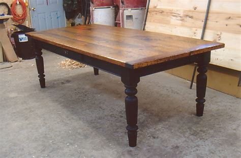 Black Farm Table by Black Base Finished Pine Farmhouse Table With Optional