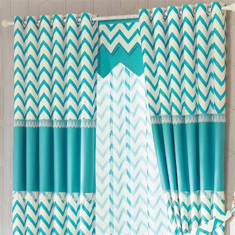 blue geometric curtains blue white striped modern ready made geometric chevron