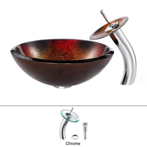 kraus mercury glass vessel and waterfall faucet kraus mercury glass vessel in red gold with waterfall