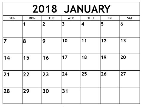 printable calendar 2018 january pdf january 2018 calendar printable template pdf uk usa canada